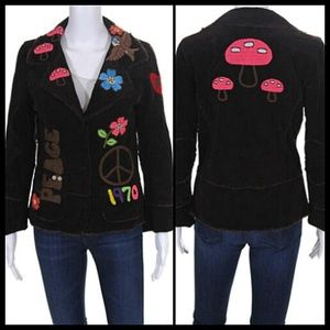Johnny Was Joystick Boho Retro Corduroy Blazer L